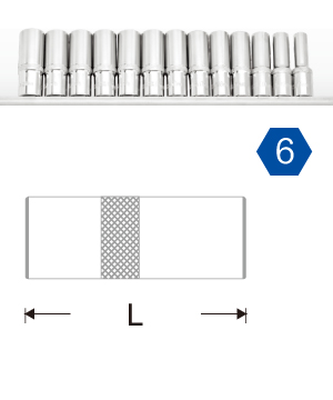 "1/4""Dr. Deep Socket Rail Set -6PT."