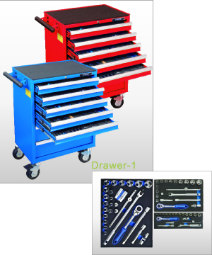 258PCS 7-Drawer Tool Trolley and Tool SET