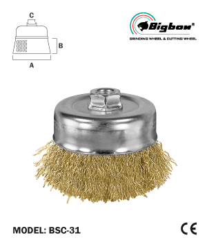 """BIGBON"" Crimped Steel Wire Cup Brush"
