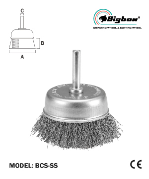 """BIGBON"" S/S Wire Cup Brush with Shank"