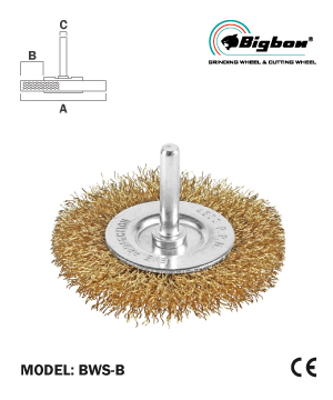 """BIGBON"" Brass Coated Wire Wheel Brush with Shank"