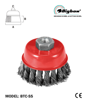 """BIGBON"" Twist Knot Stainless Steel Wire Cup Brush"