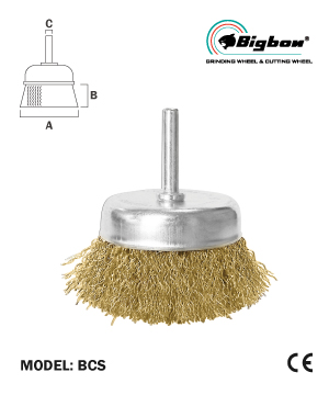 """BIGBON"" Brass Coated Wire Cup Brush With Shank"