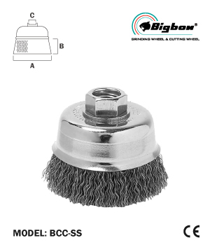 """BIGBON"" Crimped Stainless Steel Wire Cup Brush"
